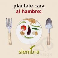 """""""Plántale cara al hambre: siembra"""" . Cartel Manos Unidas 2015"""