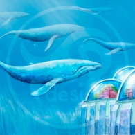 Ballenas en el fondo marino