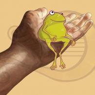 La rana Chiclota amiga de un humano
