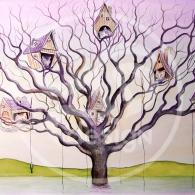 Gatos en el árbol sobre lago