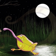 La rana Chiclota comiendo de noche